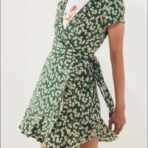 Green, wrap floral dress